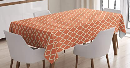 Ambesonne Geometric Tablecloth, Diagonal Checkered Pattern with Squares on Orange Background Modern Geometrical, Rectangular Table Cover for Dining Room Kitchen Decor, 52