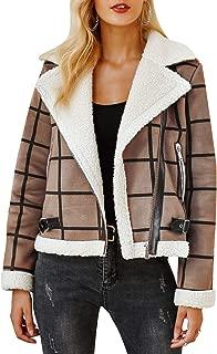 BerryGo Women's Plaid Faux Fur Jacket Thick Lapel Coat Zipper