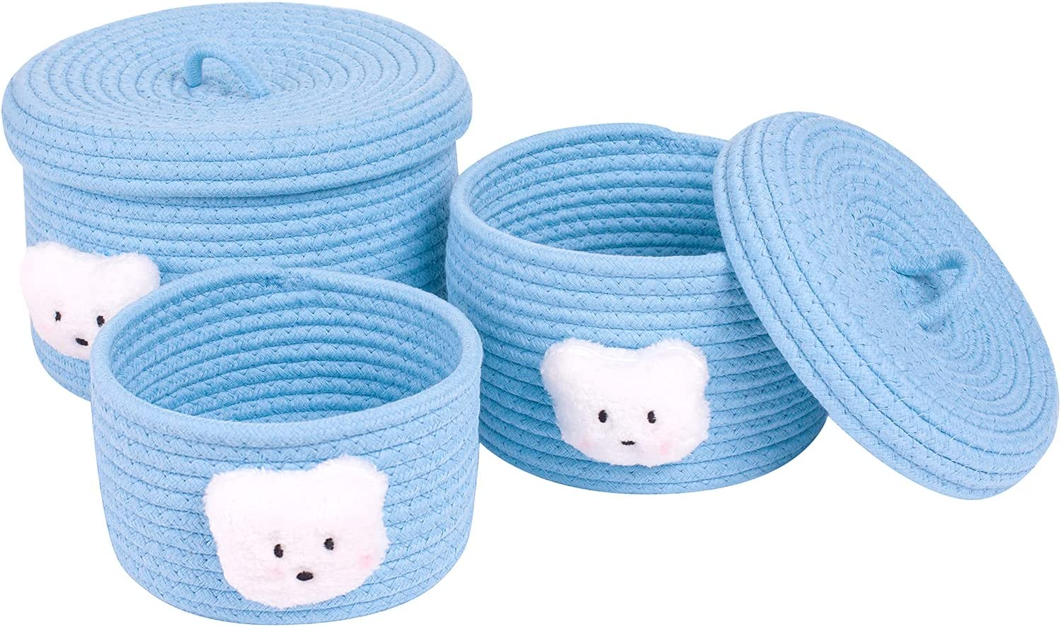 Lixinju Basket with Lid Small Storage Lids Puppy Blue-3Pack