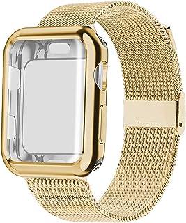 ZAALFC Banda con el Caso de Reloj for la Serie de Apple 5/4/3/2 38 mm 42 mm 40 mm 44 mm Correa de Acero Inoxidable de la P...
