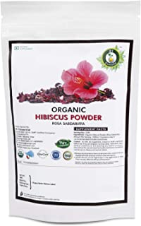 R V Essential Organic Hibiscus Powder 200gm/ 7.05oz/ 0.44lb- Rosa Sabdariffa Hibiscus Flower Powder USDA Organic Certified...