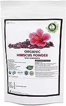 R V Essential Organic Hibiscus Powder 100gm/ 3.53oz/ 0.22lb- Rosa Sabdariffa Hibiscus Flower Powder USDA Organic Certified Ayurvedic Herbal Supplement in Resealable and Reusable Zip Lock Pouch