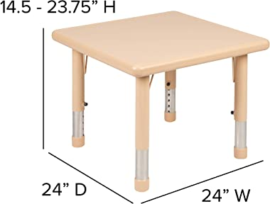 """Flash Furniture 24"""" Square Natural Plastic Height Adjustable Activity Table"""