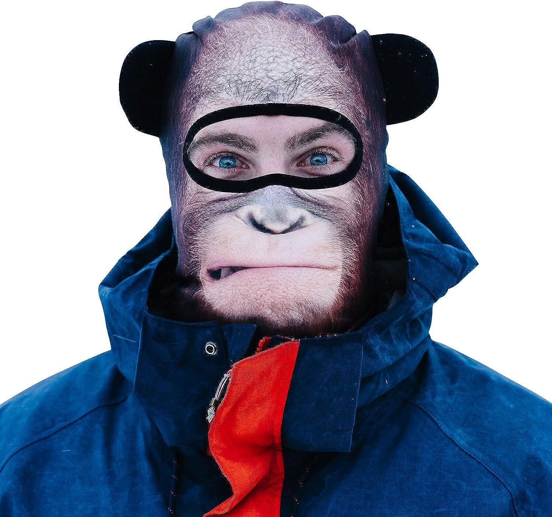 BEARDOWEAR Unisex Realistic Print Orangutan Head Balaclava Face Mask Ski Mask