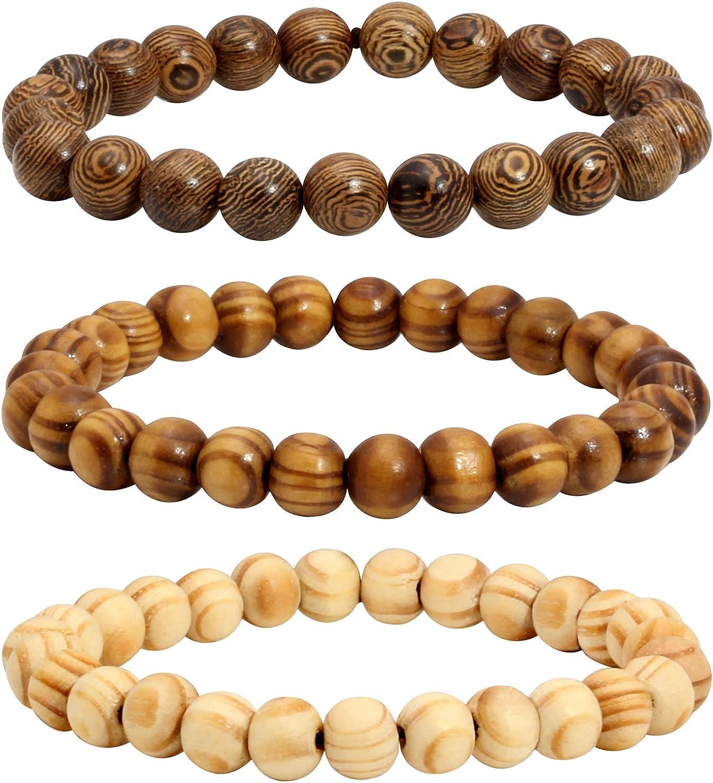 Milakoo 3 Pcs Wooden Beaded Bracelet Bangle for Men and Women Elastic 8MM Beads