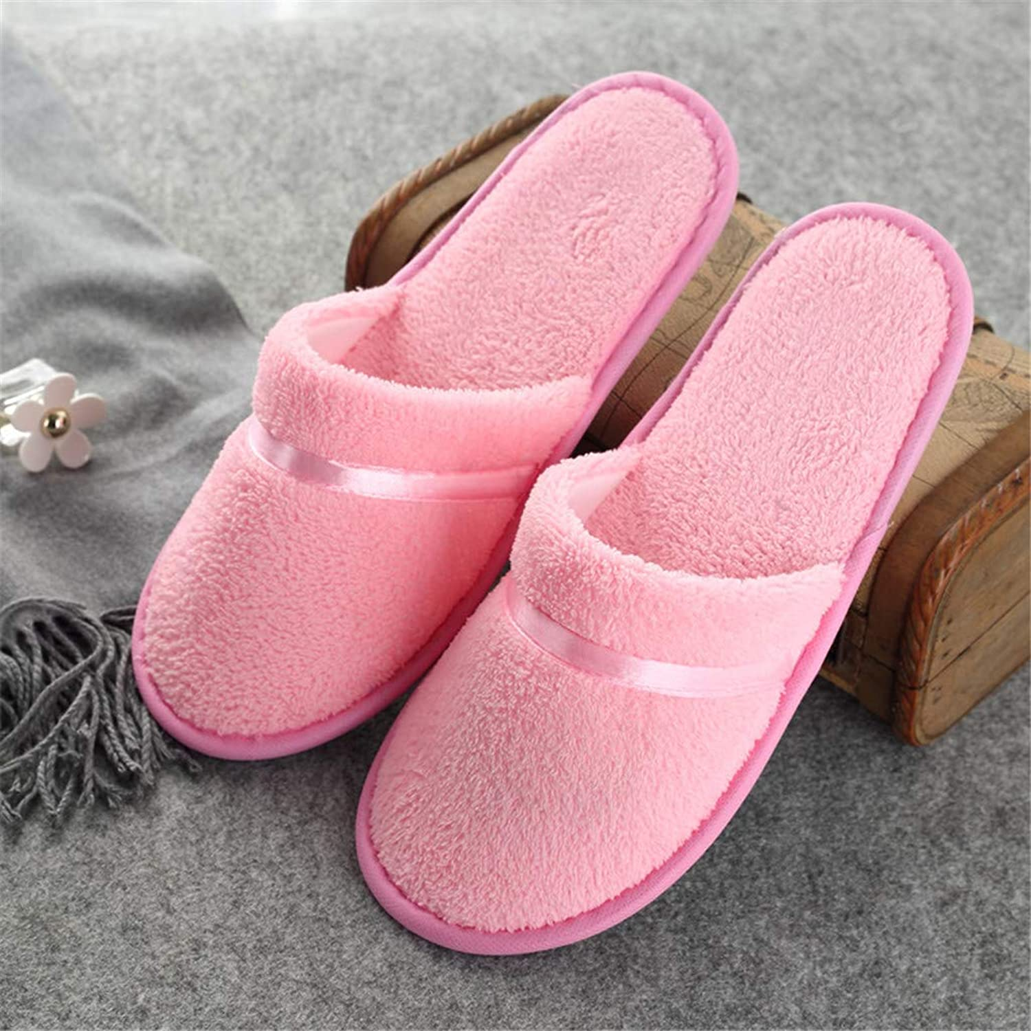 Spa Slippers, Closed Toe Unisex Coral Fleece Slipper, Non Disposable,Washable, (5 Pairs)