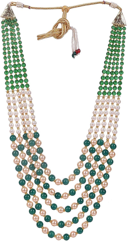 Ratnavali Jewels Pearl Green Multi Layer Strand Mala Beads Party Wear Necklace Jewelry Women RVA647