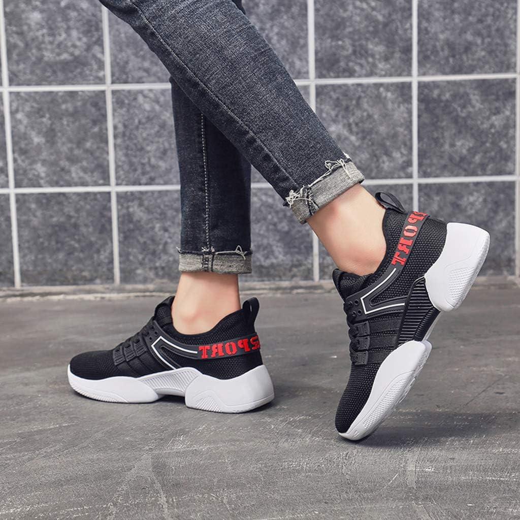MSYDX Frau Sportschuhe Mode lässig im Freien Laufschuhe leichte atmungsaktive Schnürschuhe Low-Top-Schuhe Mesh Jogging-Schuhe Black