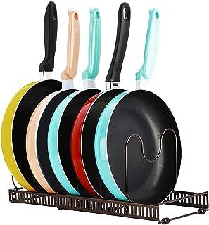 Support d'organisateur de casserole, support de batterie de cuisine réglable à 7 niveaux, organisateur d'étagère de placar...