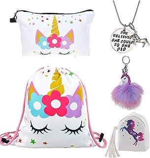 5 Piezas Unicornios Regalos para Niñas - Mochila con Cordón/Maquillaje Bolsa/Collar/Colgante Llavero/PU Monedero Bolsos de Embrague