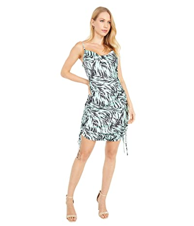 WAYF Leola Cowl Ruched Mini Dress (Mint Tiger) Women