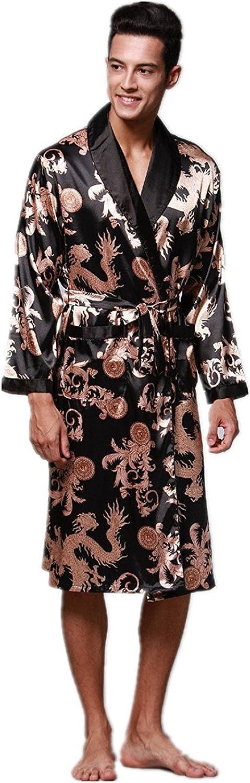 Mens Silky Satin Ultra Robes Shawl Collar Kimono Dragon Print Bathrobe Sleepwear Nightwear Pajamas