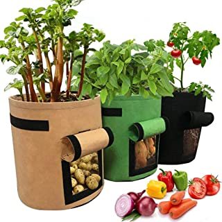 Yuccer 3 Piezas 7 Galones Bolsa de Cultivo de Papa Saco Plantar Patatas con Manija de Ventana de Velcro para Patata Cebolla Zanahoria Tomate Fresa Flor (Verde + Negro + marrón)