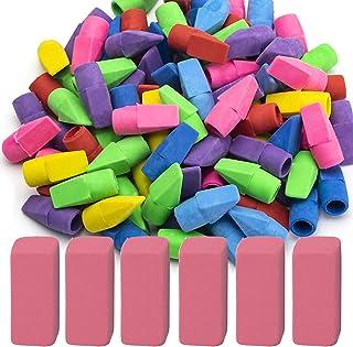 Sooez Pencil Erasers, 90 Pack Pencil Top Erasers & 6 Pack Pink Erasers, Cap Erasers Eraser Tops Pencil Eraser Toppers Eras...