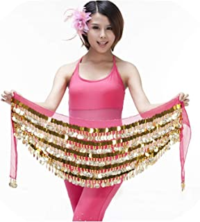 Surprise S Women Dancer Costume Hip Scarf Wrap Sequins Belt 288 Coin 5 Layer Chiffon Skirt Waist Hip
