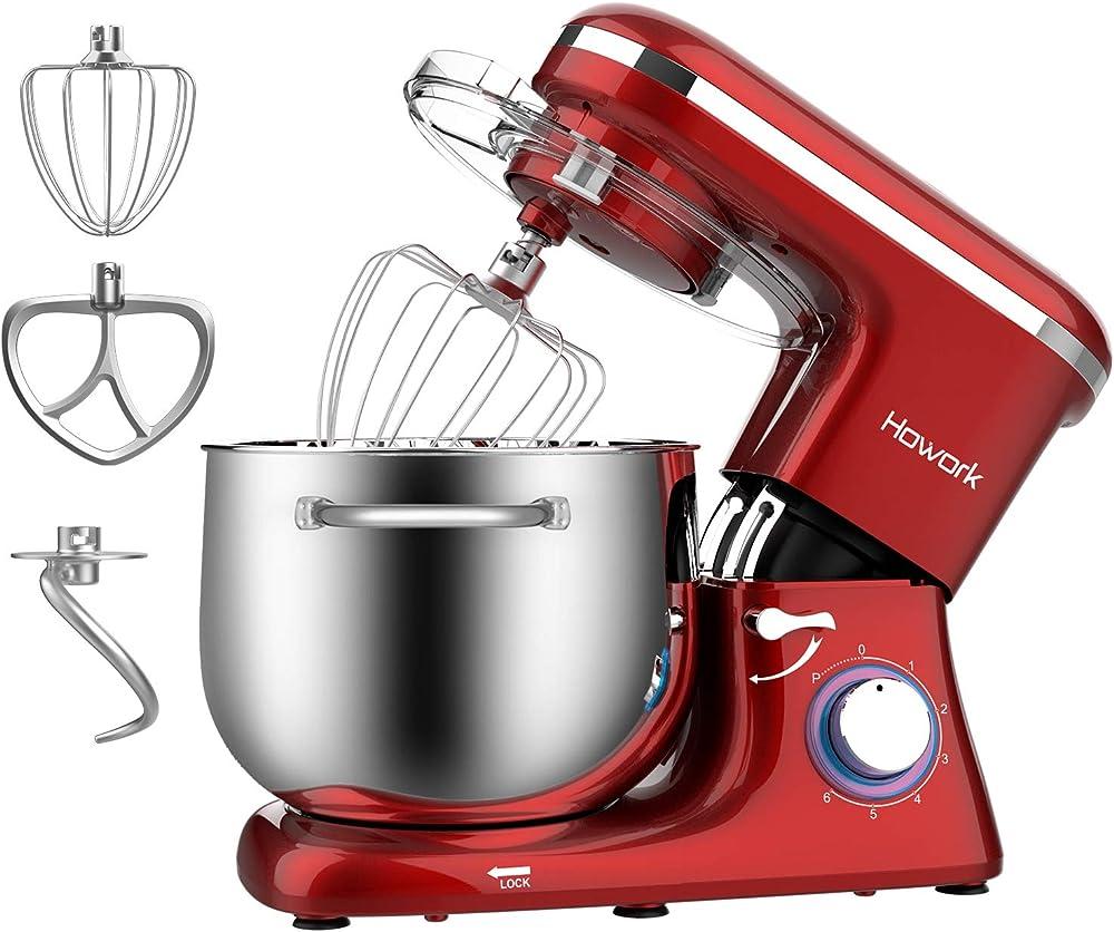 Howork robot da cucina per pane, pizza, dolci e pasticceria, 6 velocità con ciotola in acciaio inossidabile 12