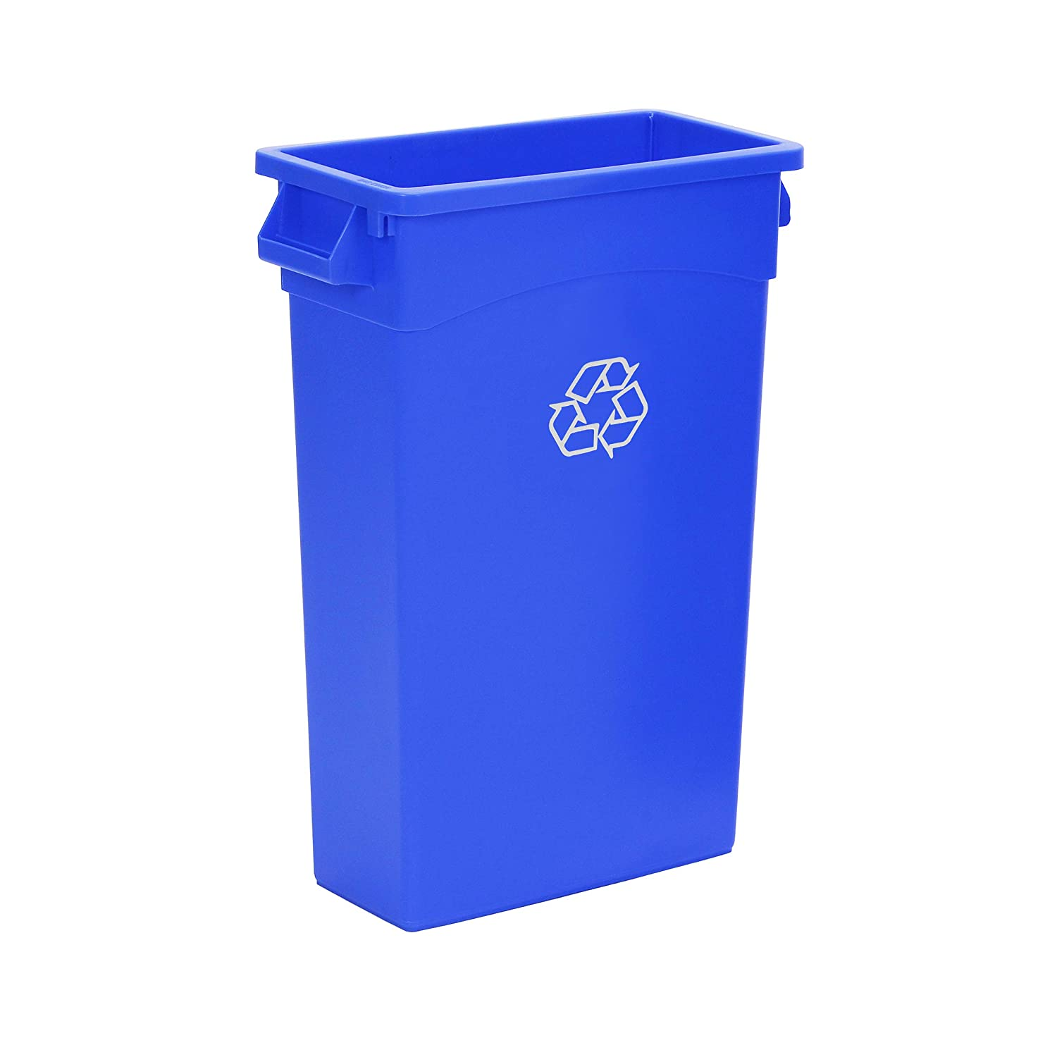 AmazonCommercial 23 Gallon Commercial Slim Trash Can, Blue w/Recycle Logo, 1-pack