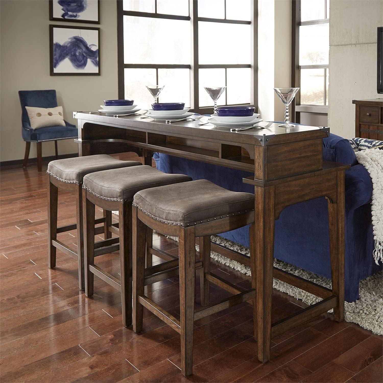 Liberty Furniture Industries Aspen Skies 4 Piece Set (1-Console 3-Stools), W74 x D21 x H36, Brown