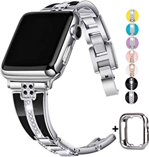 JSGJMY Bling Bands Compatible with Apple Watch Band 38mm 40mm 42mm 44mm with Case,Women Diamond Rhinestone Metal Jewelry Wristband Strap for iwatch Series 5/4/3/2/1 (Silver, 38mm/40mm)