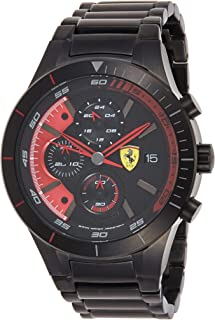 Ferrari Red Rev Evo Black Dial Men's IP Black Stainless Steel Chronograph Watch - 830264