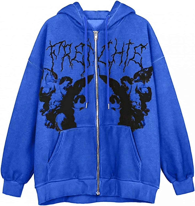 Oiumov Zip Up Hoodie Women Lightweight Long Sleeve Skeleton Hooded Sweatshirts Pullover Top Jacket Coats with Pockets
