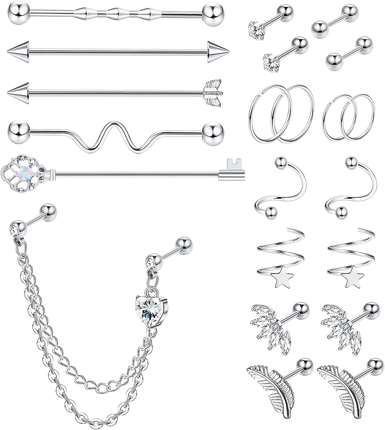 Subiceto 14G Surgical Steel Industrial Piercing Jewelry Helix Tragus Cartilage Earrings Hoop Daith Rook Conch Piercing Body Piercing Jewelry 22Pcs