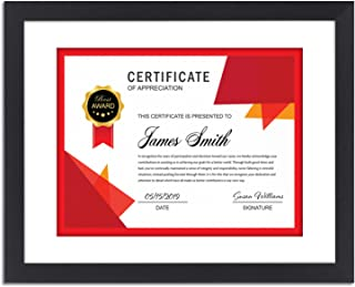 Icona Bay 11x14 Certificate Frame Matted to Display 8.5x11 Documents (1 Pack, Black), Sturdy Wood Composite Frame, Tabletop and Wall Hang Hooks Included, Frame for Diplomas, Liberty Collection