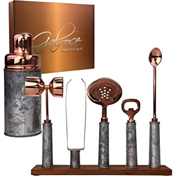 GALROSE Cocktail Shaker Set Rose Gold - 6 Bartending Tools Rustic Galvanized Iron Bar Set - Stylish Mixology Bartender Kit with Stand - Unique Anniversary Gifts for Couple