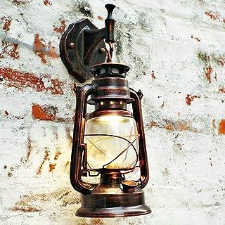 comprar comparacion Bcyhh – Farol de pared vintage, rústico, clásico, de hierro forjado, 1× E27,220V, metal, Rojo retro, E27, 40.0W, 220.00V