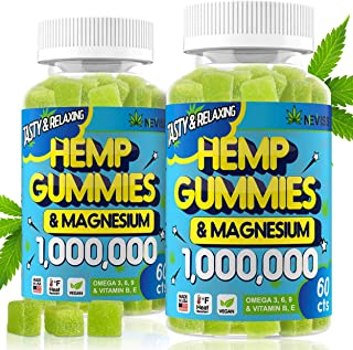 (2 Pack) Hemp Gummiés 1,000,000 with Magnesium, Hemp Gummiés for Pain and Anxiety Relief, Stress & Inflammation Relief, Sl...