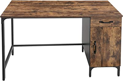 VASAGLE Computer Desk, Writing Study Table with Drawer and Cabinet for Home Office, 51 Inches Industrial Style PC Laptop, Simple Assembly, Black Metal Frame, Rustic Brown ULWD51X