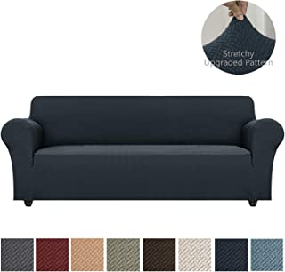Obytex Stretch Sofa Cover Oversized Polyester and Spandex Upgrade Pattern Couch Covers Dog Cat Pet Slipcovers Furniture Protectors,Machine Washable (Navy, XL Sofa)