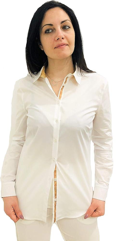 Alviero martini, camicia elegante da donna, in cotone con dettagli in stampa geo classic D0902NC16J