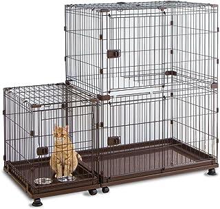 猫 ケージ コンビネーションサークル にゃんこ向け 2段 スペース付きセット アイリスオーヤマ