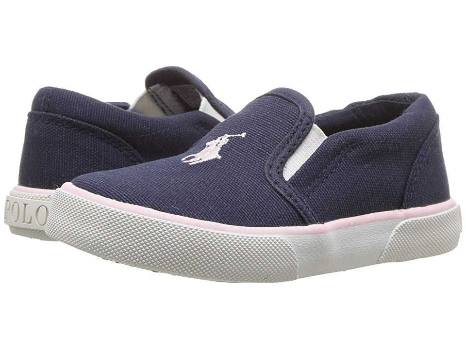 Polo Ralph Lauren Kids Bal Harbour II (Toddler) (Navy Canvas/Light Pink PP) Girl
