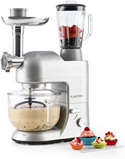 comprar comparacion Klarstein Lucia Argentea 2G - Robot de cocina universal, Batidora, 1200 W, 5,2 Litros, Amasadora planetaria, Picadora de c...