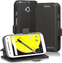 Motorola Moto E (2nd Gen, 2015) Wallet Case - VENA [vFolio] Slim Vintage Genuine Leather Wallet Stand Case with Card Slots for Motorola Moto E (2nd Gen, 2015) (Gray/Black)