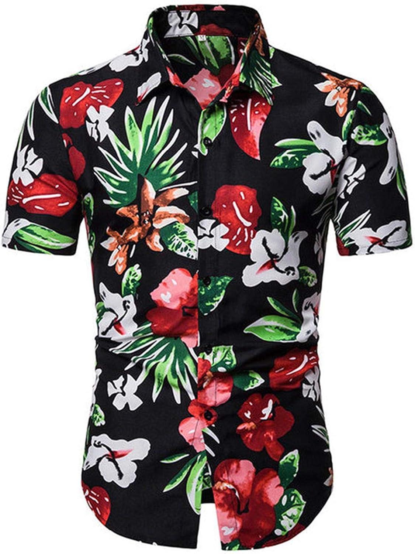 xzbailisha Mens Floral Print Short Sleeve Shirt Casual Flower Button Down Hawaiian Shirt