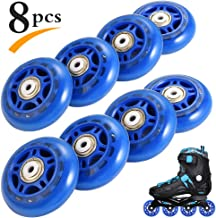 RUNACC Inline Roller Skate Wheels 82A 70mm Premium Replacement for Rollerblade Wheels with Bearings (Blue- Set of 8)