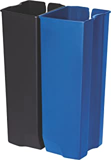 Rubbermaid Commercial Slim Jim End Step-On Trash Dual Rigid Liner Set, Plastic, 13 Gallon, Black/Blue