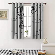 Modern Thermal Insulating Blackout Curtain Hot Air Balloon Sketch in The Clouds Murky Air Journey Artistic Picture Curtains Girls Room W55 x L39 Inch Charcoal Grey White