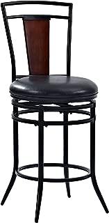 Crosley Furniture Soho Swivel Counter Stool, 26-inch, Black with Black Cushion