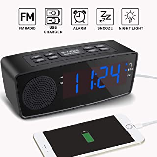Alarm Clocks for Bedrooms, Alarm Clock with FM Radio,Dual USB Charging Ports,LED Display, Dimmer, Sleep Timer, Snooze, Battery Backup