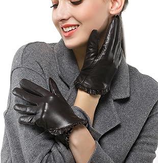 Nappaglo donne sono veri guanti in pelle nappa touchscreen breve inverno caldo guanti con decorazione polso lace