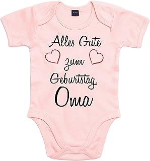 Mister Merchandise Mister Merchandise Baby Body Alles gute zum Geburtstag, Oma Strampler liebevoll bedruckt Glückwunsch Rosa, 6-12