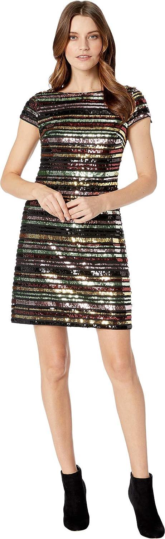 Vince Camuto Womens Sequin Cap Sleeve Shift Dress, Sequin Print, 8