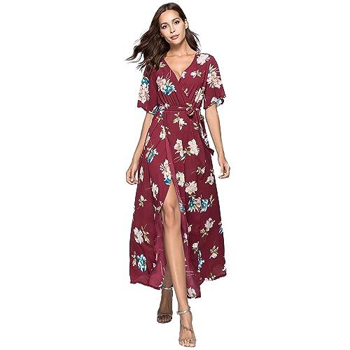 c36e91c435 Escalier Women s Floral Maxi Dress Split Beach Flowy Party Dresses with Belt