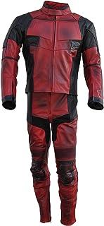 Classyak Deadpool - Traje de moto para hombre (piel auténtica, alta calidad)