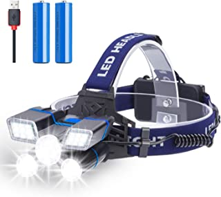 Rechargeable Headlamp, 21 LED Headlamp with Red Strobe Lights, 9 Modes USB Rechargeable Waterproof Head Lamp for Outdoor Camping Cycling, head lamps for adults