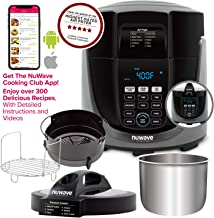 NUWAVE DUET Pressure Air Fryer; All-in-1 Multi-Cooker with Combo Cook Technology; Removable Pressure & Crisping Lids for Convenient Storage; 6-Qt Heavy-Duty Stainless Steel Pot, Stainless Steel Reversible Rack & 4-Qt Non-Stick Air Fryer Basket; 6 Programmed Pressure Settings & 10 Programmed Air Fryer Settings; 100 Pressure Presets, 100 Air Fryer Presets, 100 Combo Presets; Built-in Sure-Lock Safety Technology; Steam, Sear, Saute, Slow Cook, Roast, Grill, Bake, Dehydrate, Pressure Cook & Air Fry